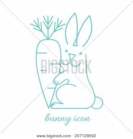 Long haired rabbit holding carrot in paw side view of simple vector illustration icon isolated on white in linear style. Cute bunny hare with healthy organic food