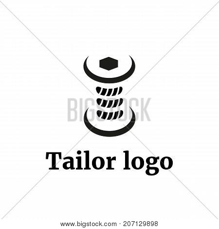 Vector logo template for tailor or for the production of ropes and threads. Thread icon. Illustration of a coil with a rope or thread.