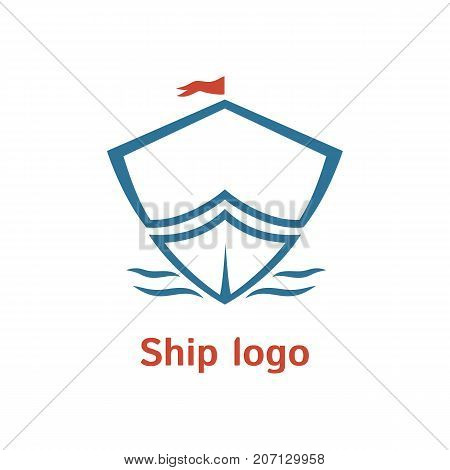 Sailboat vector logo template. Boat badge. Simple logotype for business company. Illustration of boat. EPS10. Outline design. Travel sign.