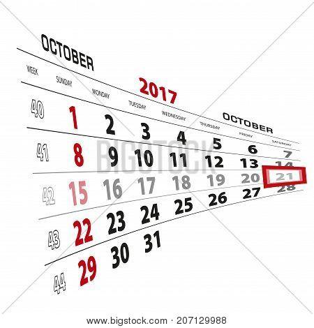 October 21, Highlighted On 2017 Calendar. Week Starts From Sunday.