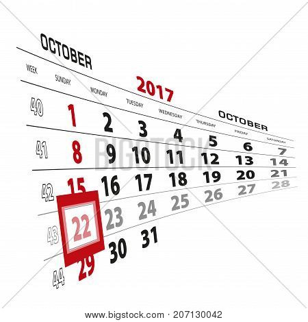 October 22, Highlighted On 2017 Calendar. Week Starts From Sunday.