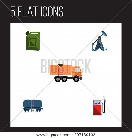 Flat Icon Petrol Set Of Fuel Canister, Rig, Petrol And Other Vector Objects