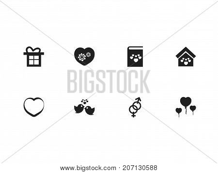 Set Of 8 Editable Love Icons. Includes Symbols Such As Textbook, Gear, Romantic And More