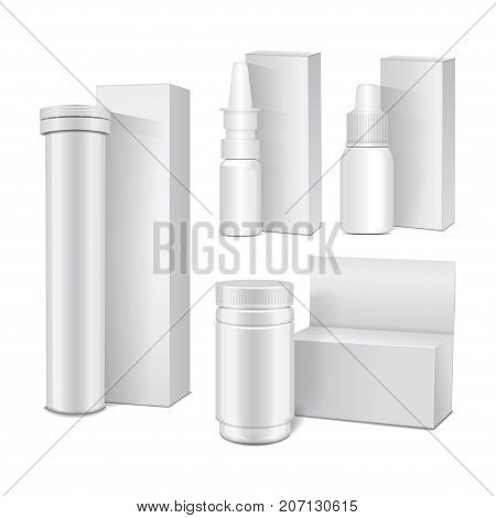 Set of vector template of white plastic bottles with cap for medicine, pills, tabs, spray. Packaging mock up illustration for your design