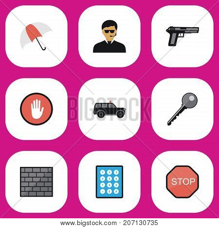 Set Of 9 Editable Safety Flat Icons. Includes Symbols Such As Parasol, Stop, Password And More