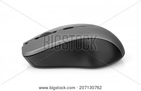 Side view of wireless computer mouse isolated on white