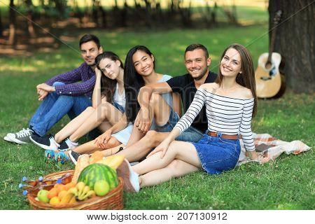 Best Friends Relax At Picnic With Guitar And Fruits Basket
