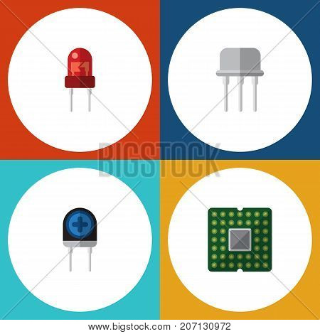 Flat Icon Appliance Set Of Unit, Resist, Transducer And Other Vector Objects