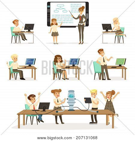 School children at the informatics and programming lesson set, teacher giving lesson in classroom, kids working on computers, learning robotics and programming vector Illustrations on a white background