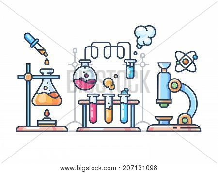 Chemical scientific experiment. Beakers and test tubes for laboratory. Vector illustration