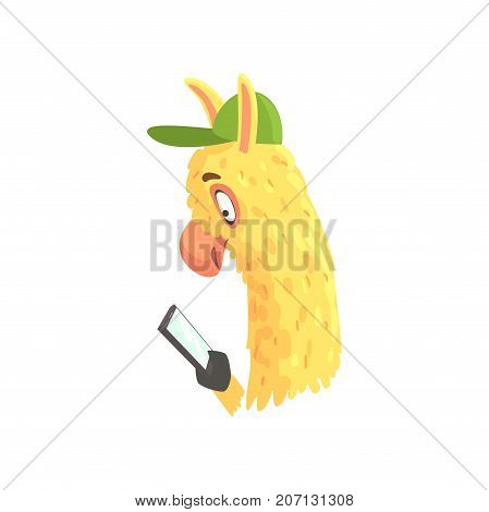 Funny llama character using mobile phone, cute alpaca animal cartoon vector Illustration on a white background