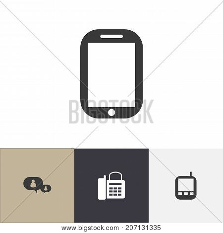 Set Of 4 Editable Phone Icons. Includes Symbols Such As Chatting, Transceiver, Office Telephone And More