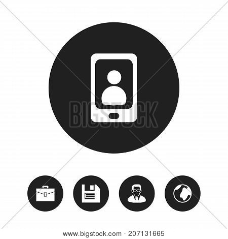 Set Of 5 Editable Bureau Icons. Includes Symbols Such As Professor, Earth, Telephone And More