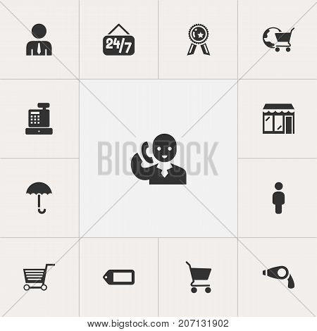 Set Of 13 Editable Trade Icons. Includes Symbols Such As Label, International Trade, Secretary And More