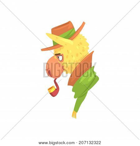 Funny llama character wearing hat smoking pipe, cute alpaca animal cartoon vector Illustration on a white background