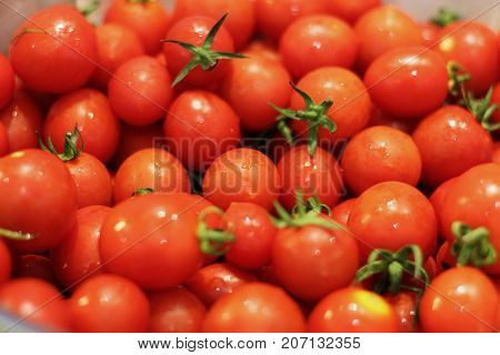Red Small Fresh Cherry Tomatoes With Water Drops