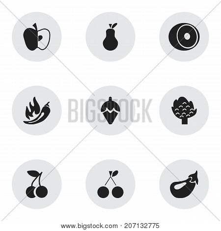 Set Of 9 Editable Fruits Icons. Includes Symbols Such As Sugar Basin, Bunch Of Flowers, Lemon And More