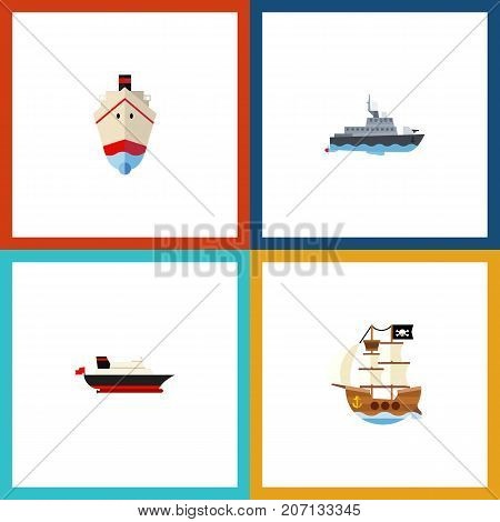 Flat Icon Vessel Set Of Delivery, Ship, Vessel And Other Vector Objects