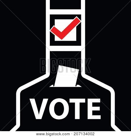 Voting icon. paper in the ballot box. vector illustration.