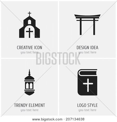 Set Of 4 Editable Religion Icons. Includes Symbols Such As Church, Shinto, Minaret And More