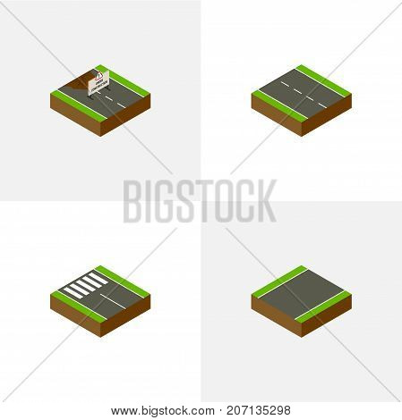 Isometric Way Set Of Single-Lane, Unilateral, Repairs And Other Vector Objects