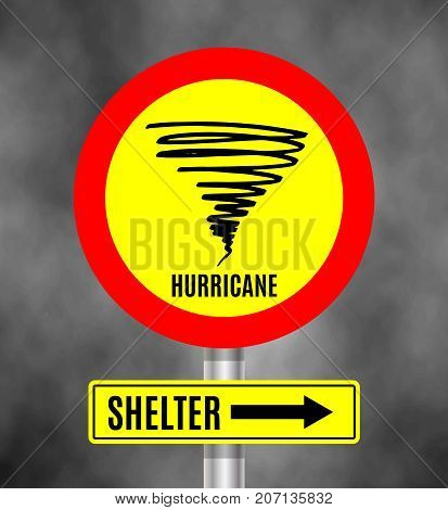 Stormy Weather Ahead Sign Board, Hurricane indication. Graphic banner of hurricane warning, shelter. Icon, sign, symbol, indication of the hurricane, vortex, tornado. Vector illustration