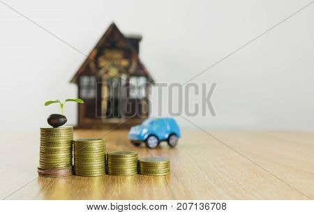 Car insurance and car services concept. Business concept. Toy car insurance concept.