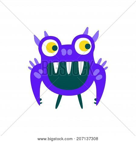 Funny blue toothy cartoon monster, fabulous incredible creature, cute alien vector Illustration on a white background