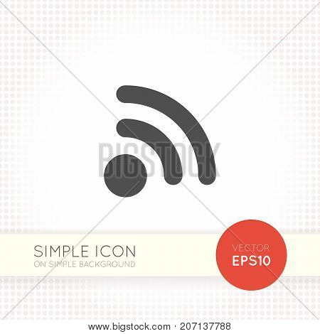 Flat rss and wi-fi icon isolated on simple white background. Universal vector illustration. Graphic navigation element for user interface of website or application.