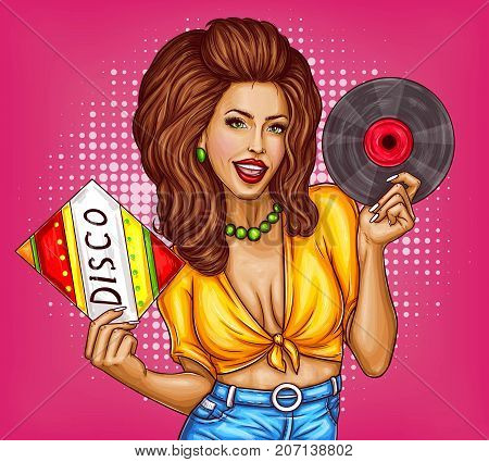 Attractive smiling woman in tied shirt and jeans with vinyl record in hands  singing and dancing pop art vector illustration on dotted background. Sexy girl disco dancer or music lover pin up concept