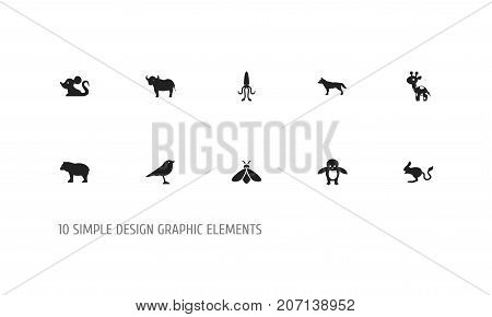 Set Of 10 Editable Zoology Icons. Includes Symbols Such As Ox, Catbird, Honey And More