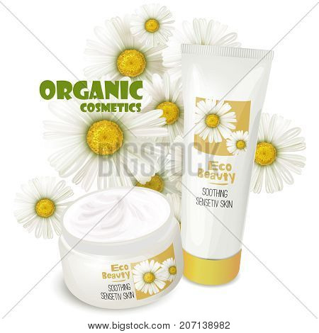 Branded tubes of soothing cream with chamomile for sensitive womens skin care realistic vector illustration isolated on white background. Natural cosmetics concept for eco beauty product advertising