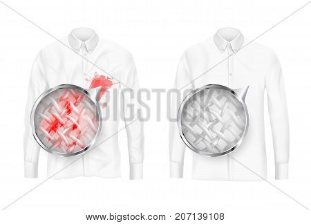 Pare of dirty and clean white shirts with magnifying glass showing fabrics fiber before and after washing or detergent use realistic vector isolated on white background. Clothing deep cleaning concept