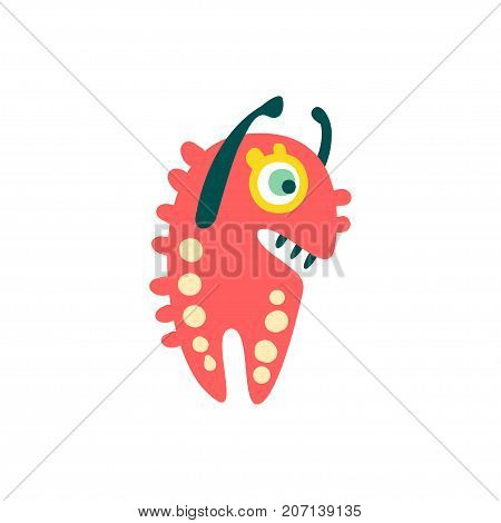 Funny red cartoon monster raising his hands, fabulous incredible creature, cute alien vector Illustration on a white background