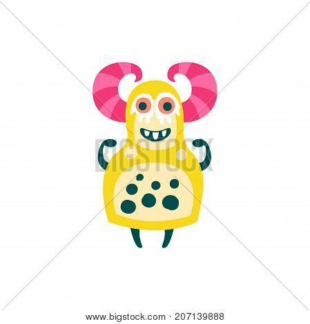Funny yellow cartoon monster with pink horns, fabulous incredible creature, cute alien vector Illustration on a white background