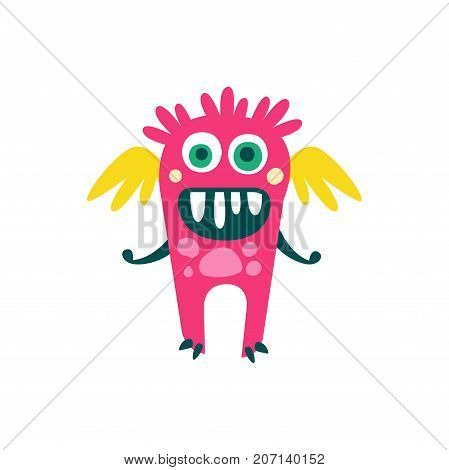 Cute pink cartoon monster with wings, fabulous incredible creature, funny alien vector Illustration on a white background