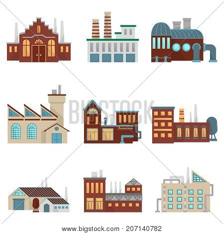 Industrial factory buildings with pipe and bad environment. Vector eco factory building power production illustration