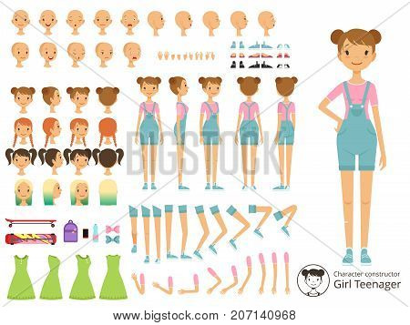 Young smile girl casual style. Mascot creation kit with different body parts. Vector cartoon constructor young girl, do-it-yourself part of body illustration