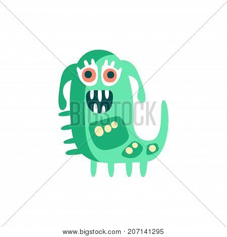 Cute happy cartoon monster, fabulous incredible creature, funny alien vector Illustration on a white background