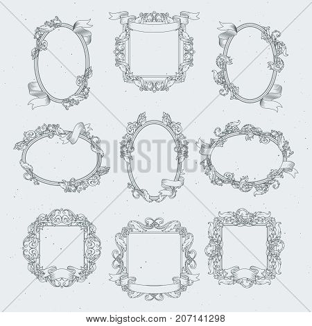 Vintage borders and victorian ribbons. Vector set frame in retro floral style illustration