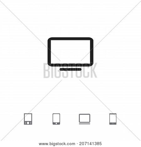 Set Of 5 Editable Devices Icons. Includes Symbols Such As Television, Computer, Telephone And More