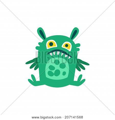 Funny green cartoon monster sitting on the floor, fabulous incredible creature, cute alien vector Illustration on a white background
