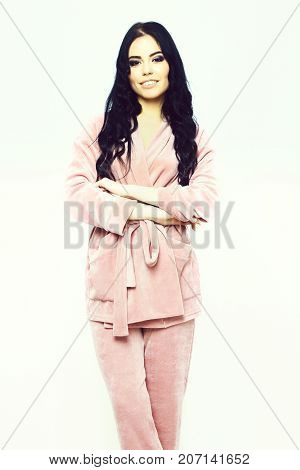 Smiling Happy Girl Posing In Pink Velour Pajama Home Suit