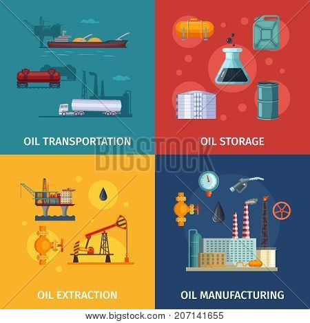 Concept pictures of oil manufacturing. Fuel exploration and extraction, petroleum manufacture, vector illustration