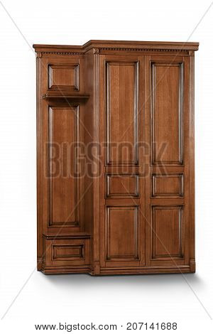 Brown wooden clothing Cabinet on white isolated background