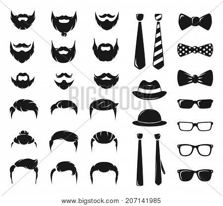 Hipster portraits creation kit. Monochrome constructor with male moustache, beard and haircut. Mustache and haircut hipster, illustration of moustache and beard