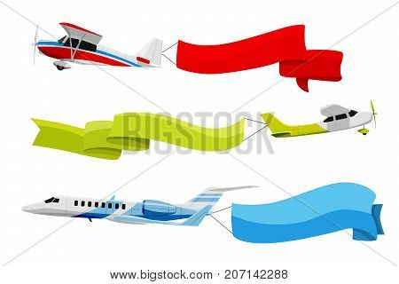 Attached banners to flying airplanes. Vector illustration in cartoon style. Airplane travel, with color banner ribbon message