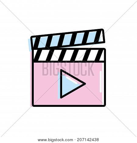 clapperboard with video movie studio icon vector illustration