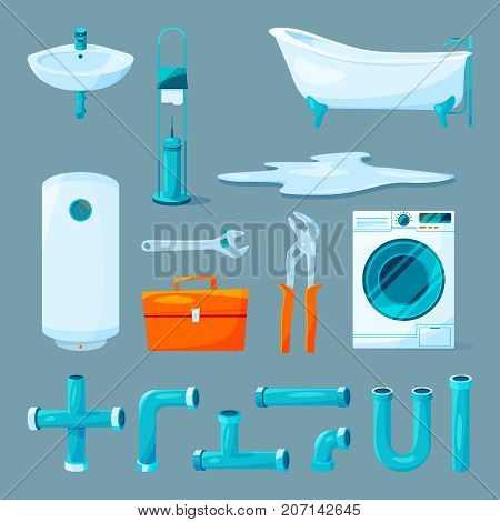 Toilet and bathroom furniture, pipe and different equipment for plumber work. Bath interior, pipe and brush illustration