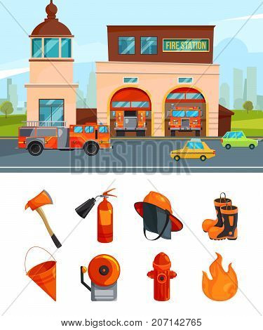 Municipal building of fire station services. Vector pictures isolate on white. Fire station and firehouse, equipment for fire department illustration